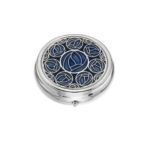 Large Pill Box Silver Plated Mackintosh Multi Rose Roses Blue Brand New & Boxed
